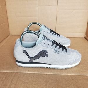 Puma Women's Grey Suede Logo Sneakers